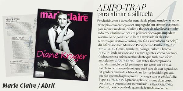 Publicação de abril da Revista Marie Claire - Destaque ativo Adipo-Trap